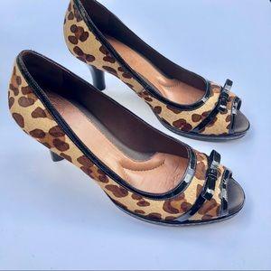 👠 Leopard print faux calf hair kitty heel peeps